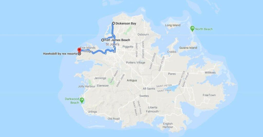 dickenson bay mapa