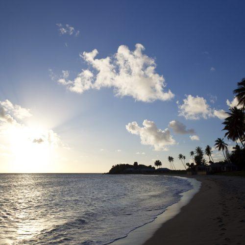 Caribbean Beach Against The Light, Antigua
